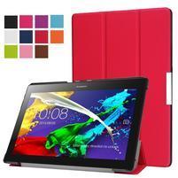 Trifold polohovateľné zapínacie puzdro na Lenovo Tab 3 10 Plus - červené