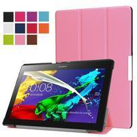Trifold polohovateľné zapínacie puzdro na Lenovo Tab 3 10 Plus - ružové