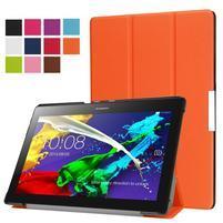 Trifold polohovateľné zapínacie puzdro na Lenovo Tab 3 10 Plus - oranžové