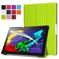 Trifold polohovateľné zapínacie puzdro na Lenovo Tab 3 10 Plus - zelené