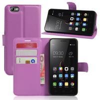 Grain peňaženkové puzdro pre mobil Lenovo Vibe C A2020 - fialové