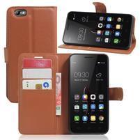Grain peňaženkové puzdro pre mobil Lenovo Vibe C A2020 - hnedé