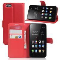 Grain peňaženkové puzdro pre mobil Lenovo Vibe C A2020 - červené