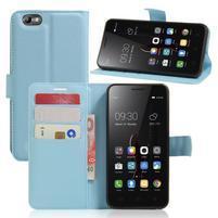 Grain peňaženkové puzdro pre mobil Lenovo Vibe C A2020 - svetlomodré
