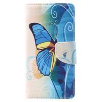 Emotive zapínacie peňaženkové puzdro na Lenovo C2 - modrý motýľ