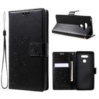 Butterfly PU kožené puzdro pre mobil LG G6 - čierné