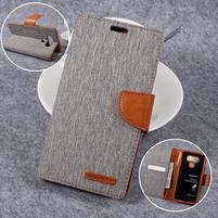 Canvas PU kožené/textilní puzdro pre LG G6 - šedé