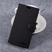 Canvas PU kožené/textilní puzdro pre LG G6 - čierne