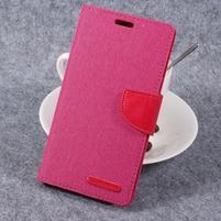 Canvas PU kožené/textilní puzdro pre LG G6 - rose