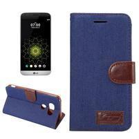Jeans peňaženkové puzdro pre LG G6 - tmavomodré