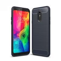 Fiber odolný silikónový kryt na mobil LG Q7 - tmavomodrý