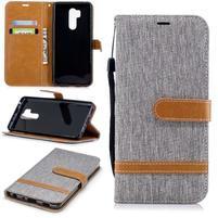 Jeans PU kožené/textilné flipové puzdro na mobil LG G7 ThinQ - sivé