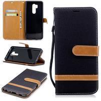 Jeans PU kožené/textilné flipové puzdro na mobil LG G7 ThinQ - čierne