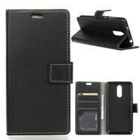 Litchi PU kožené peňaženkové puzdro na LG Q7 - čierne