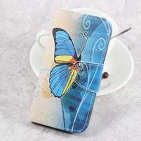 Emotive knižkové puzdro na LG K8 (2017) - modrý motýľ