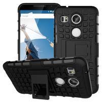 Outdoor odolný obal so stojančekom na LG Nexus 5X - čierny