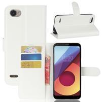 Grain PU kožené peňaženkové puzdro na LG Q6 - biele