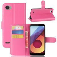 Grain PU kožené peňaženkové puzdro na LG Q6 - rose