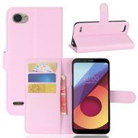 Grain PU kožené peňaženkové puzdro na LG Q6 - ružové