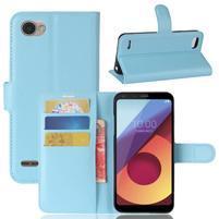 Grain PU kožené peňaženkové puzdro na LG Q6 - modré