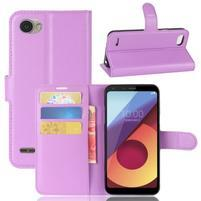 Grain PU kožené peňaženkové puzdro na LG Q6 - fialové