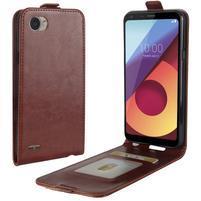 Flipové PU kožené puzdro na LG Q6 - hnedé