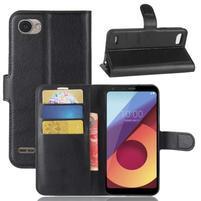 Grain PU kožené peňaženkové puzdro na LG Q6 - čierne