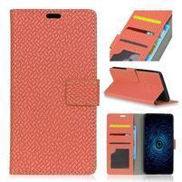 Texa PU kožené knižkové puzdro na LG Q8 - oranžové