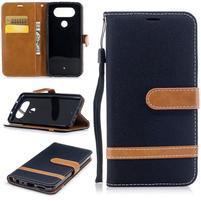 Jean textilné/PU kožené puzdro na LG Q8 - čierne