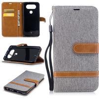 Jean textilné/PU kožené puzdro na LG Q8 - sivé
