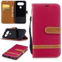 Jean textilné/PU kožené puzdro na LG Q8 - červené