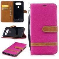 Jean textilné/PU kožené puzdro na LG Q8 - rose
