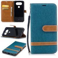Jean textilné/PU kožené puzdro na LG Q8 - modrozelené