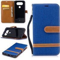Jean textilné/PU kožené puzdro na LG Q8 - modré