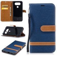 Jean textilné/PU kožené puzdro na LG Q8 - tmavomodré