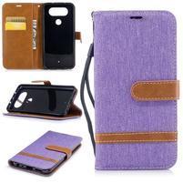 Jean textilné/PU kožené puzdro na LG Q8 - fialové