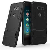 Defender odolný obal s výklopným stojančekom na LG V30 - čierny