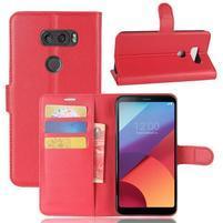 Grain PU kožené puzdro na mobil LG V30 - červené