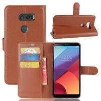 Grain PU kožené puzdro na mobil LG V30 - hnedé