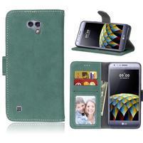 Vintage peňaženkové puzdro pre mobilv LG X Cam - zelené