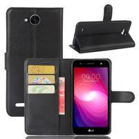 Grain PU kožené zapínacie puzdro na LG X Power 2 - čierne