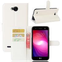 Grain PU kožené zapínacie puzdro na LG X Power 2 - biele