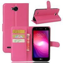 Grain PU kožené zapínacie puzdro na LG X Power 2 - rose