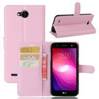 Grain PU kožené zapínacie puzdro na LG X Power 2 - ružové