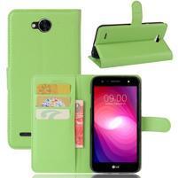 Grain PU kožené zapínacie puzdro na LG X Power 2 - zelené