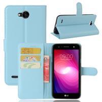 Grain PU kožené zapínacie puzdro na LG X Power 2 - modré