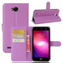Grain PU kožené zapínacie puzdro na LG X Power 2 - fialové