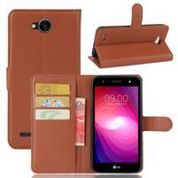 Grain PU kožené zapínacie puzdro na LG X Power 2 - hnedé