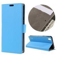 Wall PU kožené puzdro pre mobil LG X Style - svetlomodré