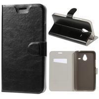Peňaženkové PU kožené puzdro na Microsoft Lumia 640 XL - čierne